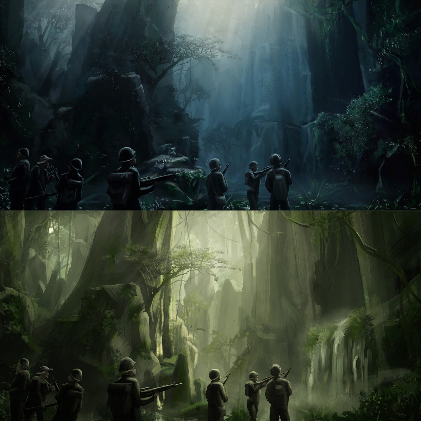 Two variations of the sketch with different cinematic light and colors