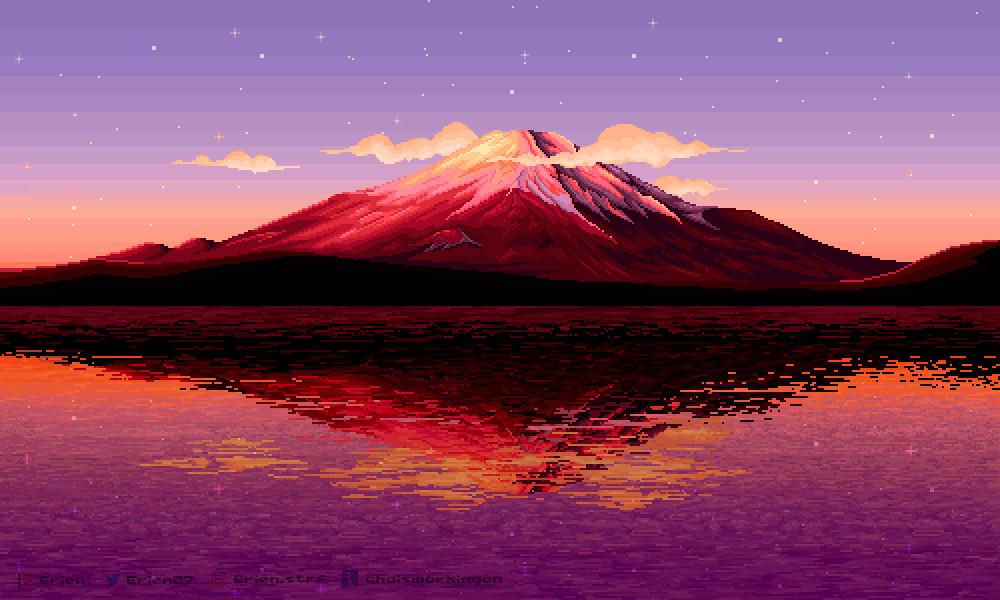 Pixel lillustration #08 // Mount Fuji + Process