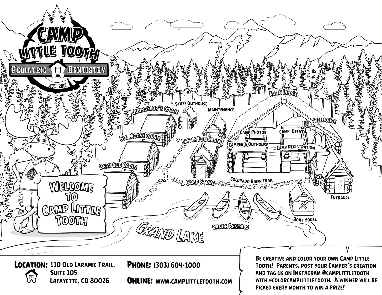 Camp Little Tooth office map (coloring sheet version)