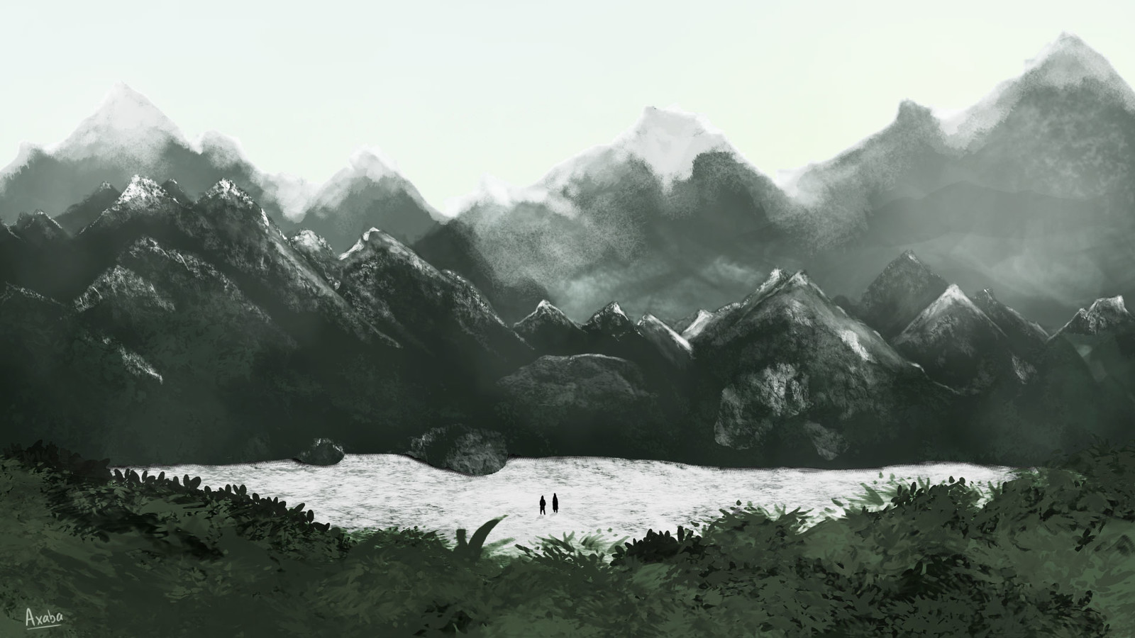 Moutain in digital painting
