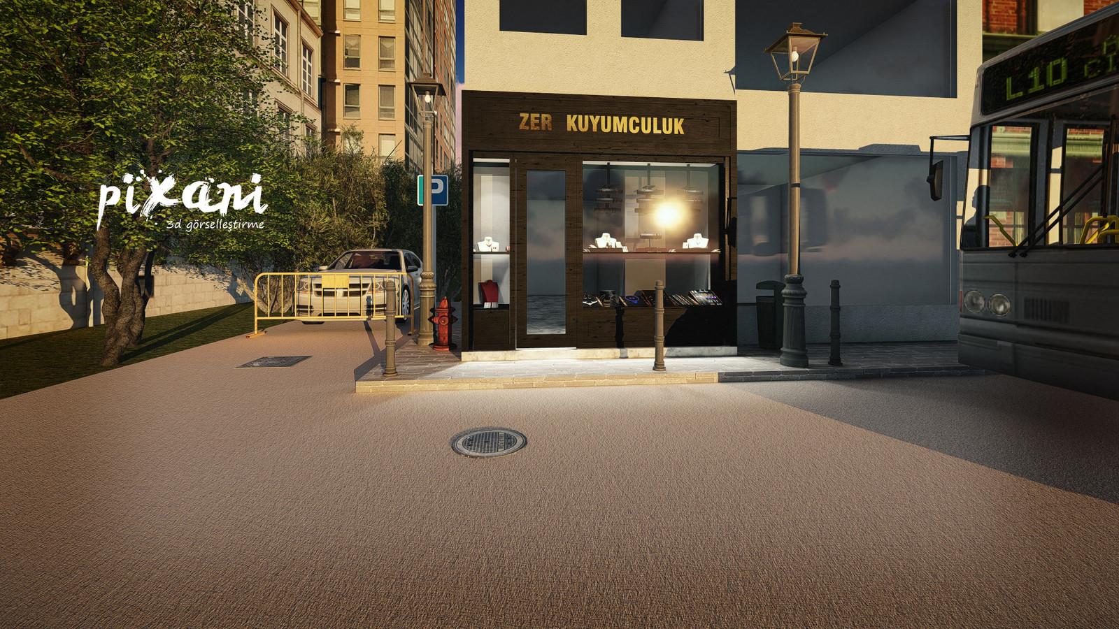ZER Jewelry Store exterior Architect & CG Artist: Serdar Çakmak