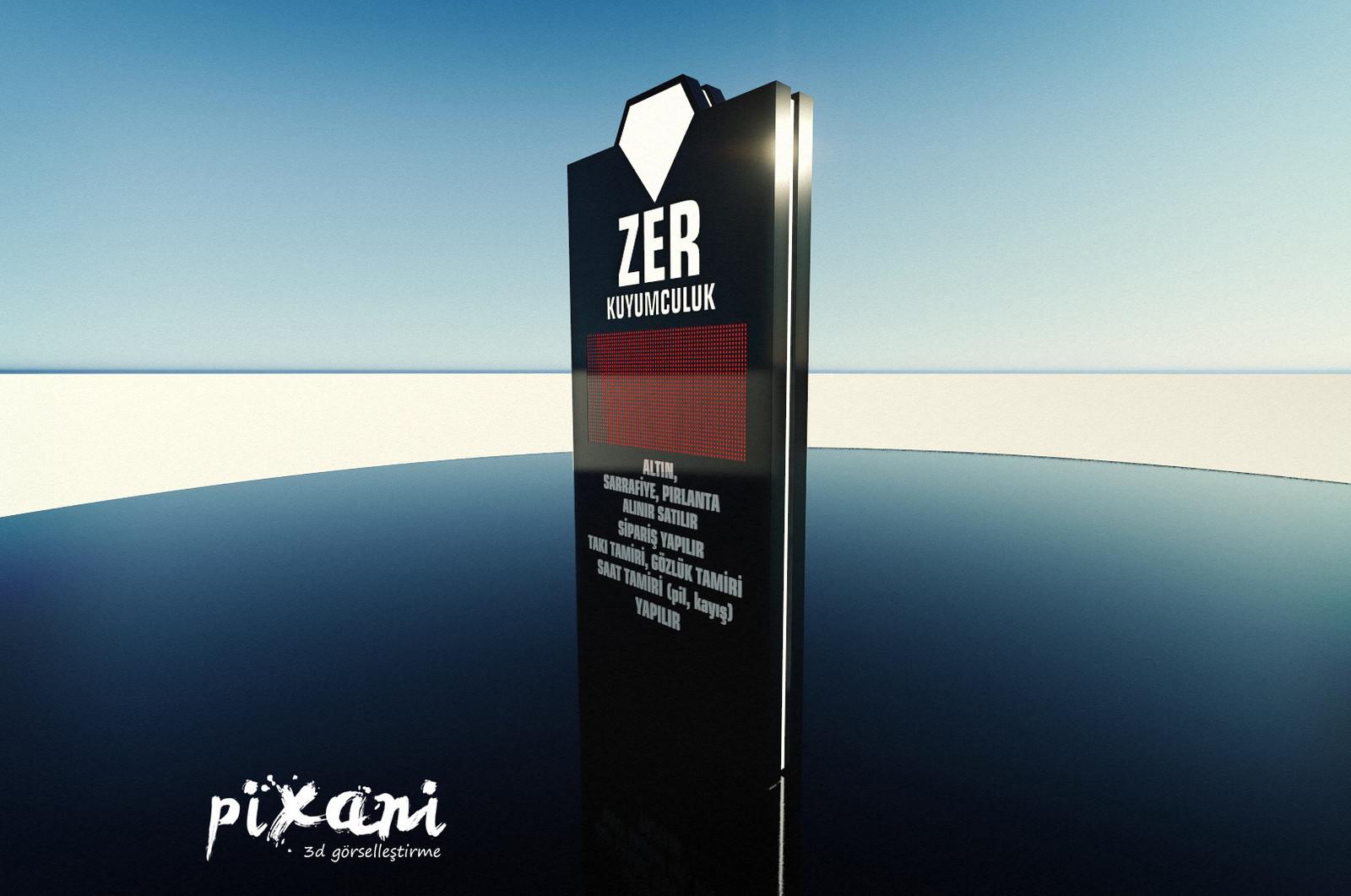 ZER double-sided Totem signboard with P10 leds designed by Serdar Çakmak