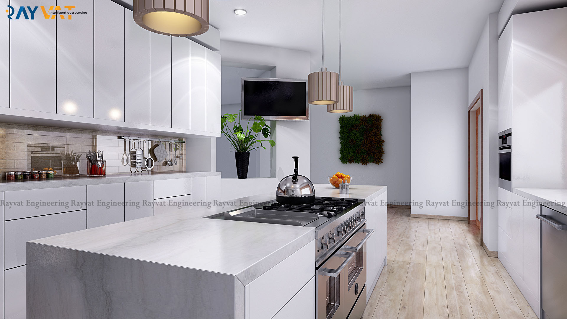 Rayvat Engineering Modern Kitchen Interior 3d Rendering