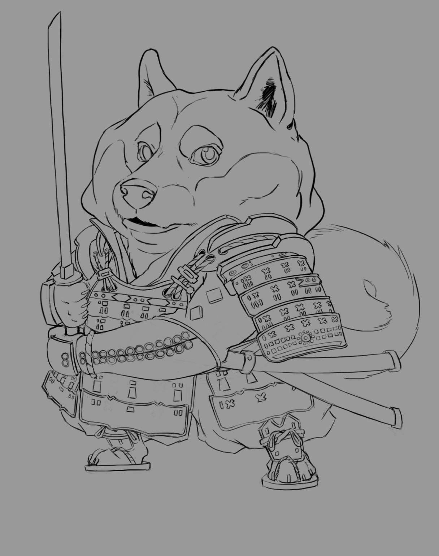Anthea zammit shiba inu samurai line art