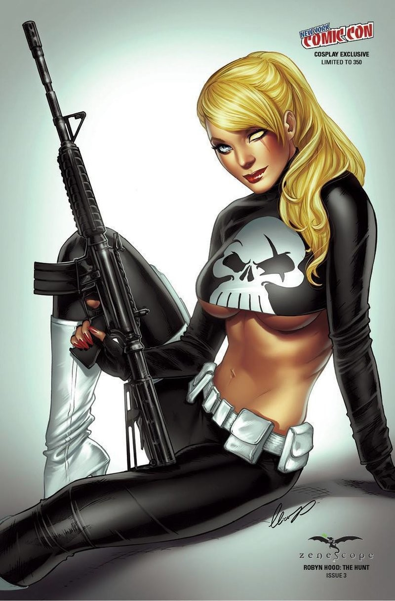 Robyn Cosplaying Punisher