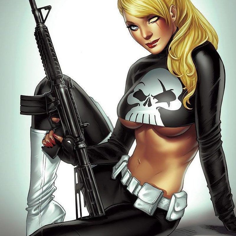Robyn Cosplaying Punisher