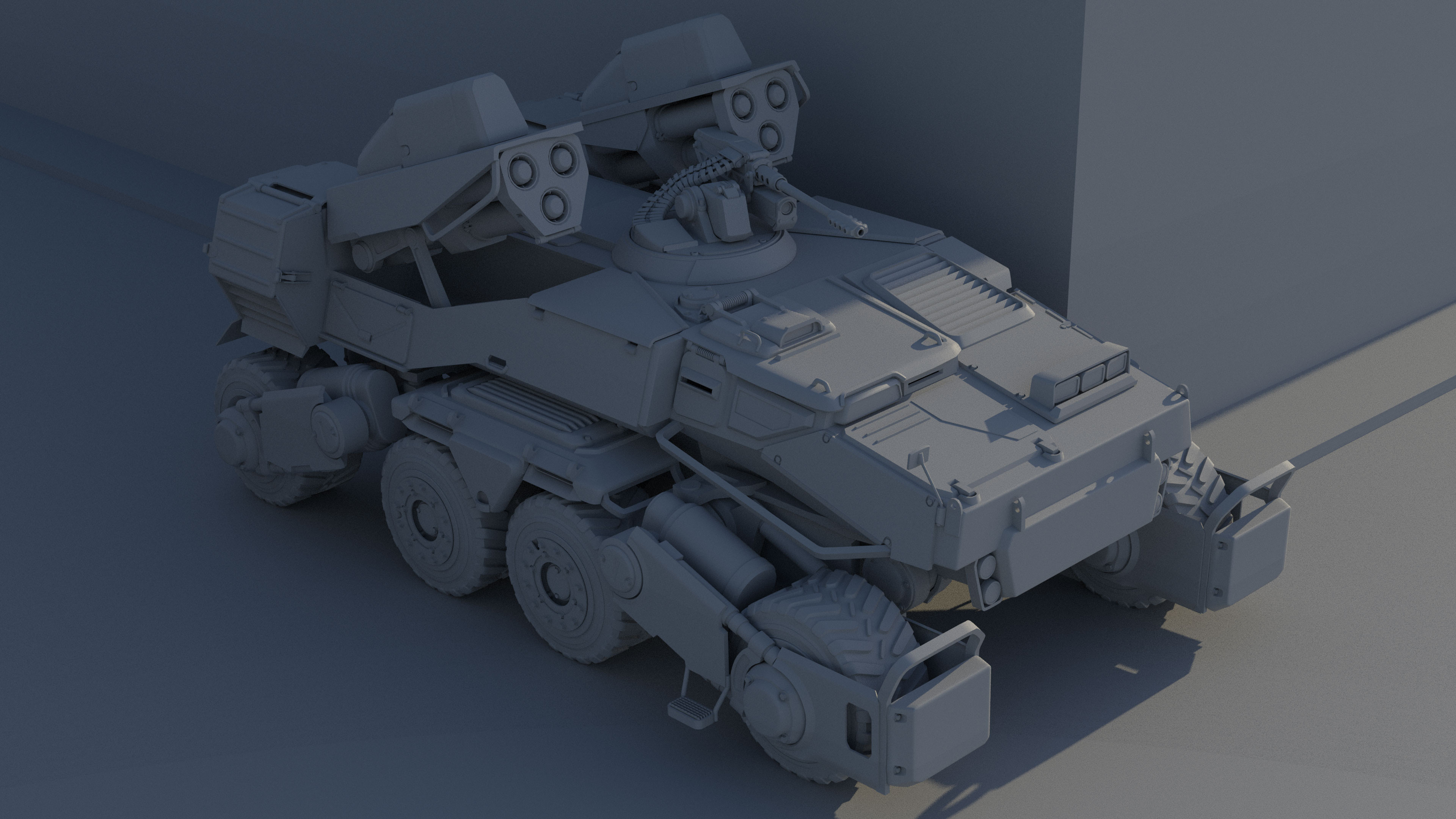 Alternate angle. This might be better if you're just doing to a concept for a vehicle modeler for an RTS or something.