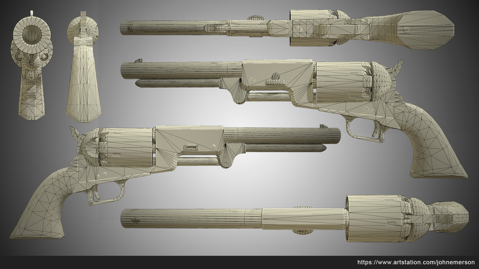 Colt 1847 Wireframe, Ambient Occlusion, Normal, and Cavity