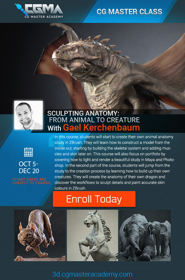Learn how to sculpt animal and creature anatomy in one of my CGMA classes : 