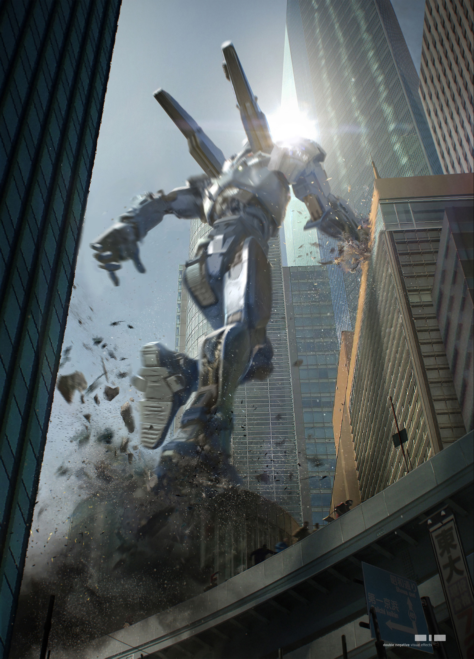 Gipsy Avenger, hopping from building to building in MegaTokyo, during a Kaiju attack.