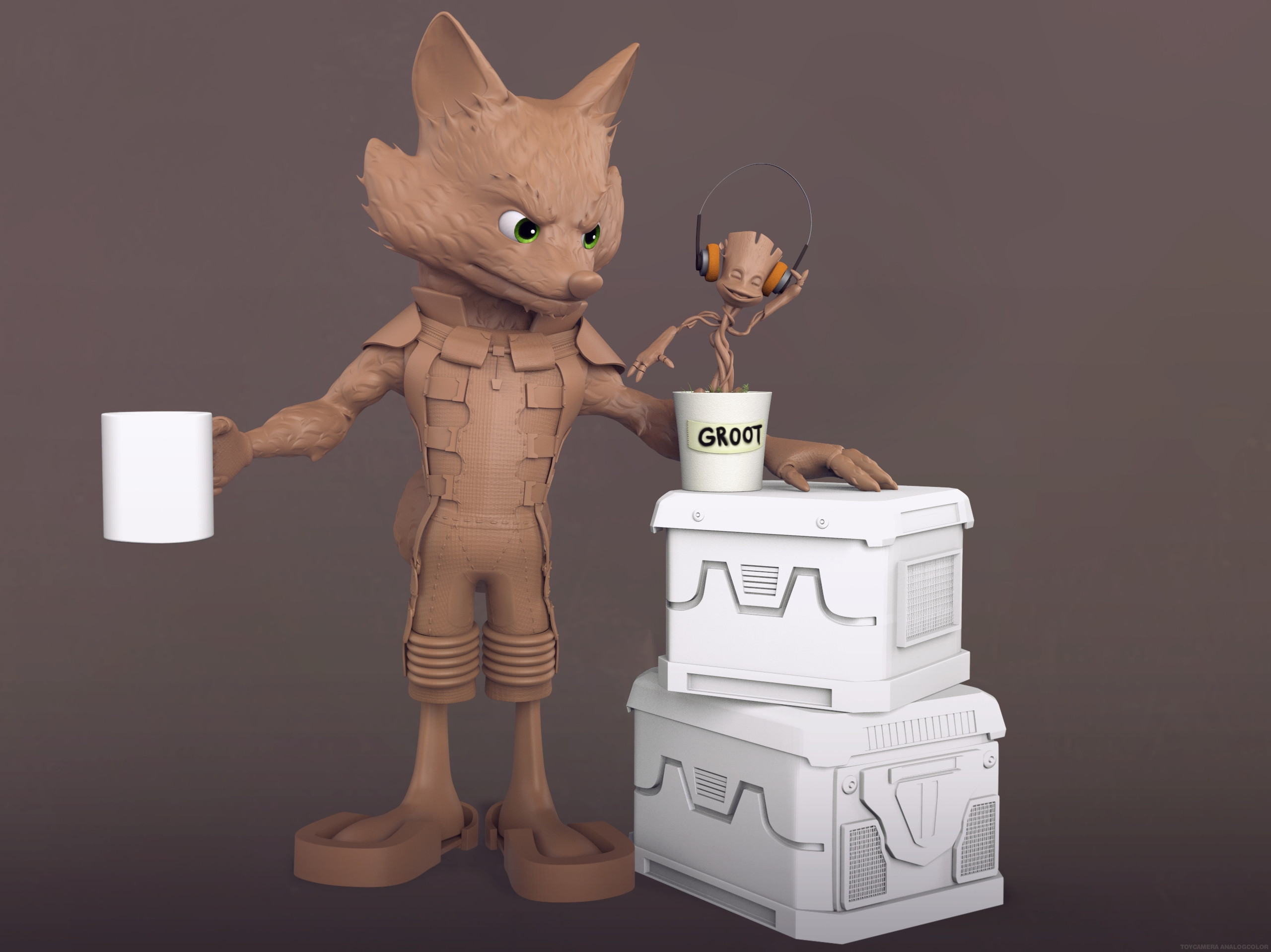 Clay render with Groot.