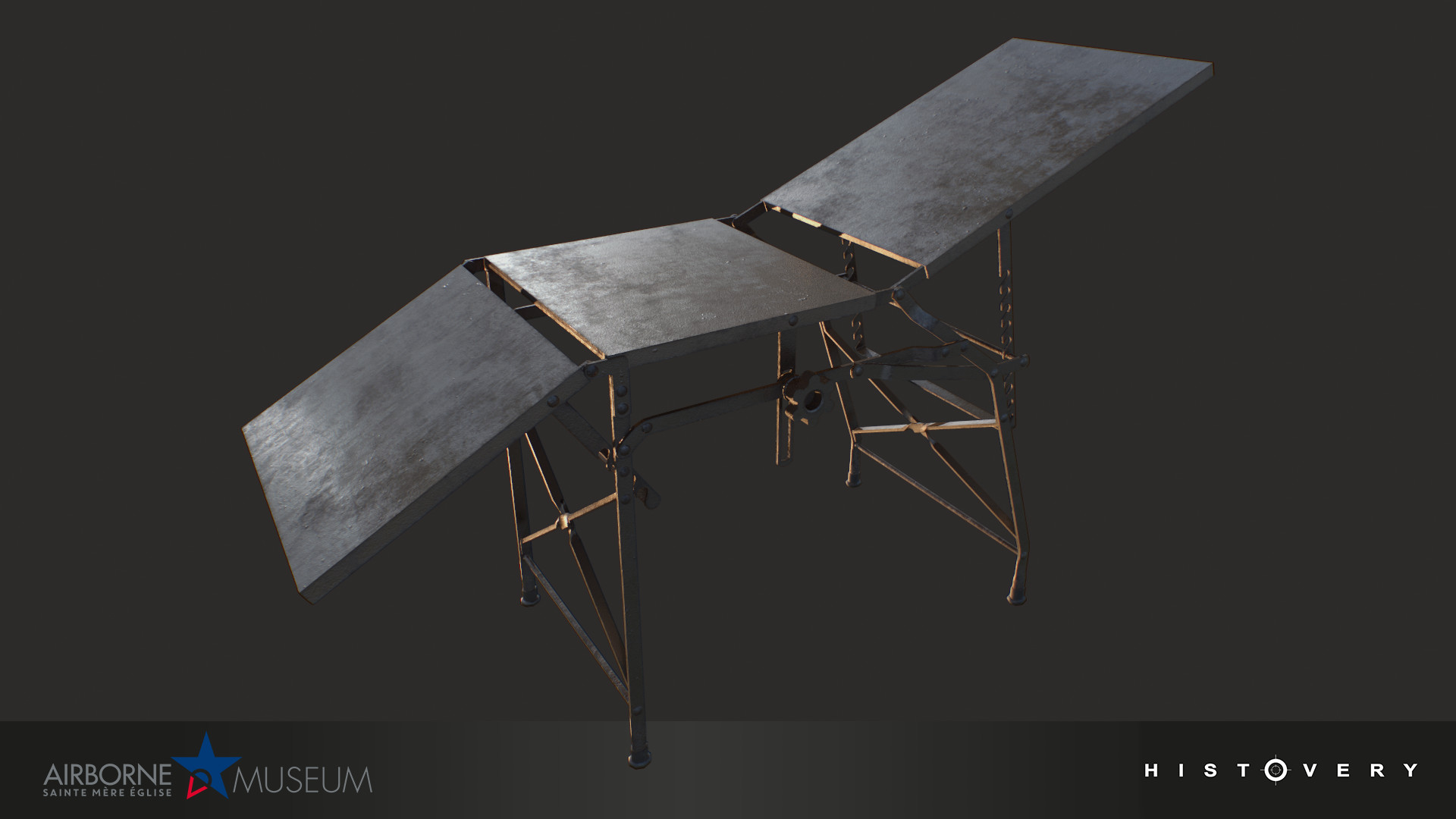 Operating table, which could be adjusted flat or leaning for the patient, or folded up for transport.