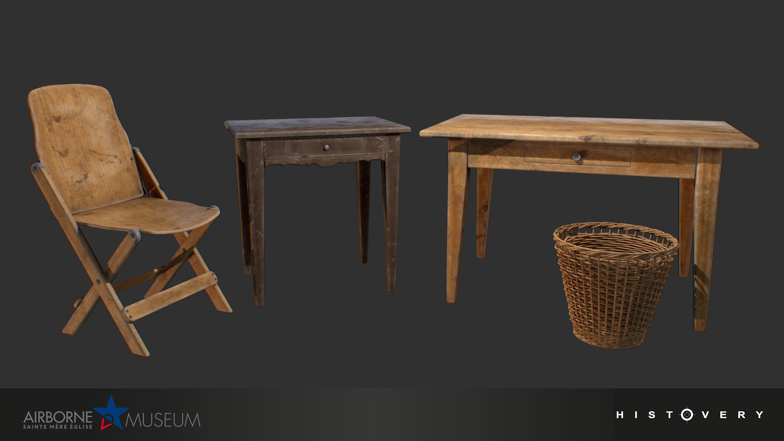 Chair, tables, and wastebasket.