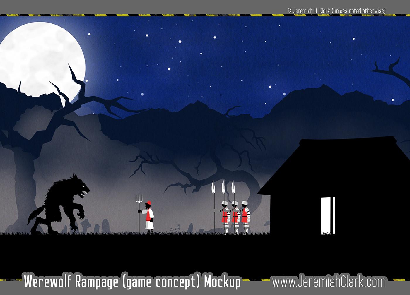 Werewolf Rampage game concept/WIP image. Original designs.