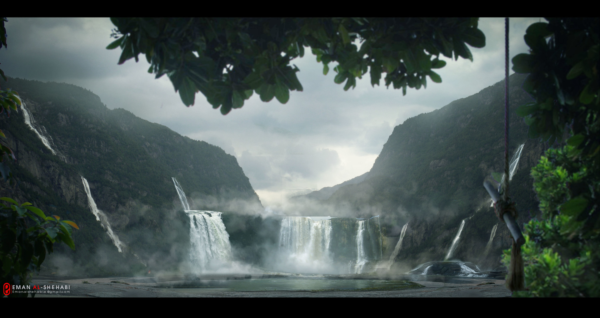 Artstation Waterfalls Matte Painting Eman Alshehabi