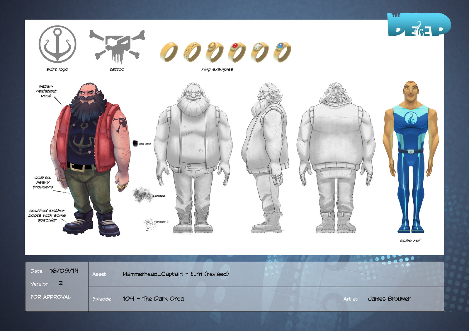 Final character design for Captain Hammerhead.