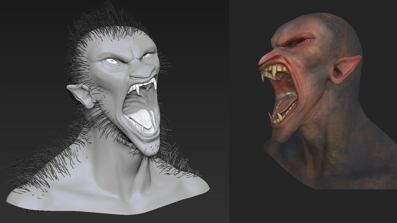 ZBrush sculpt and substance painter progress shot of the wolfman. I used fibermesh curves as guides for the hair as part of my pipeline testing.