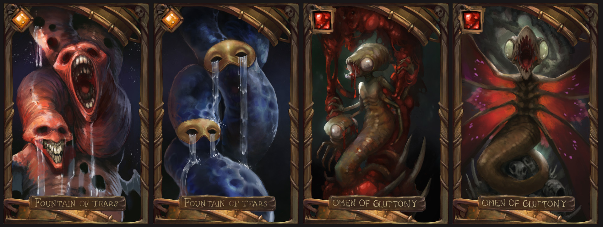 At one point I thought about making the cards into pairs of illustrations. Fountain of Tears is about grief, Omen of Gluttony is about parasites.