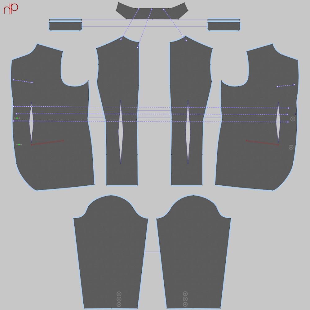 Jacket pattern developed through Marvelous Designer