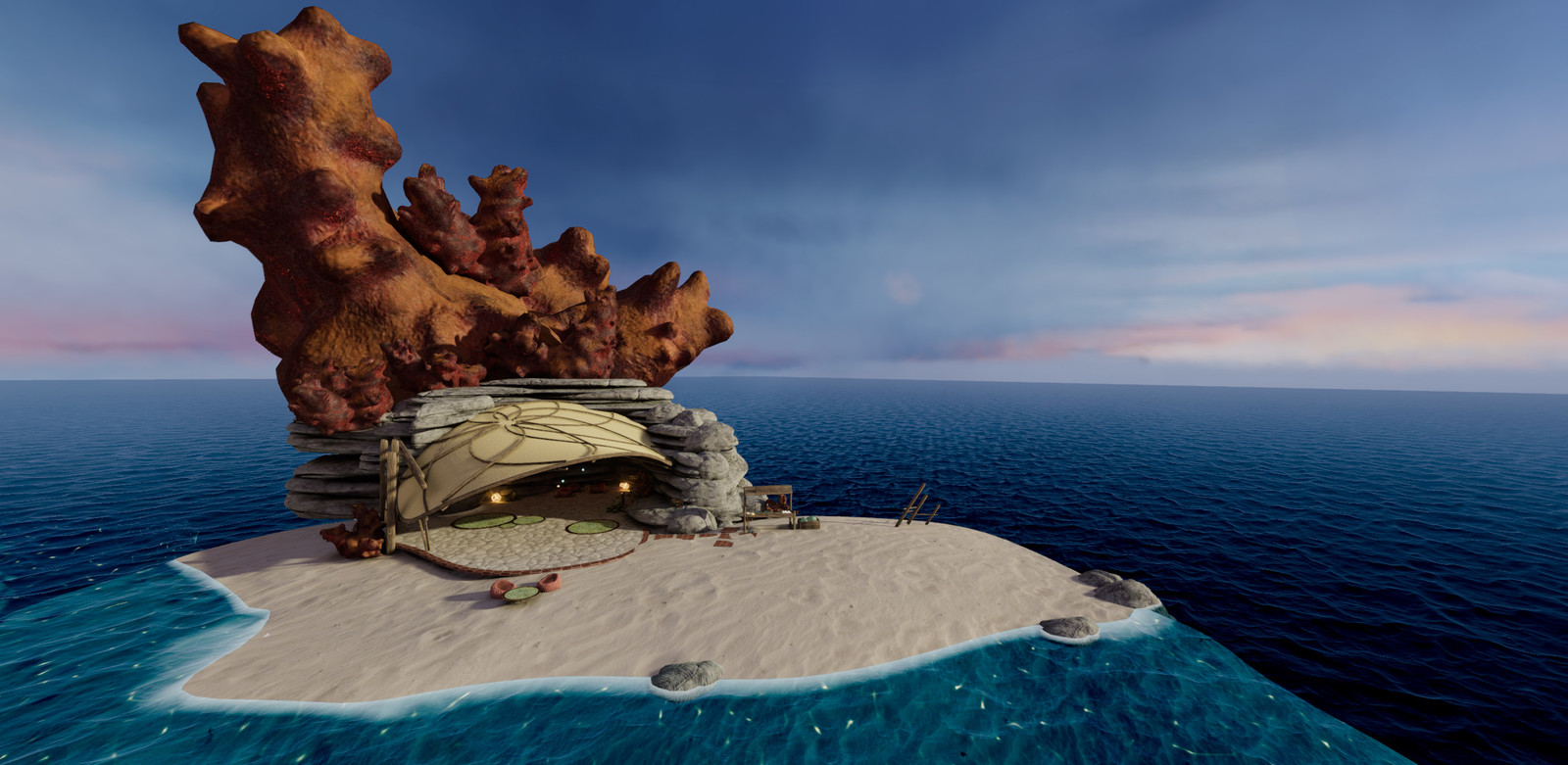 "Overview of Fish Person's Cove. It's supposed to convey a ""private tropical island"" feeling."