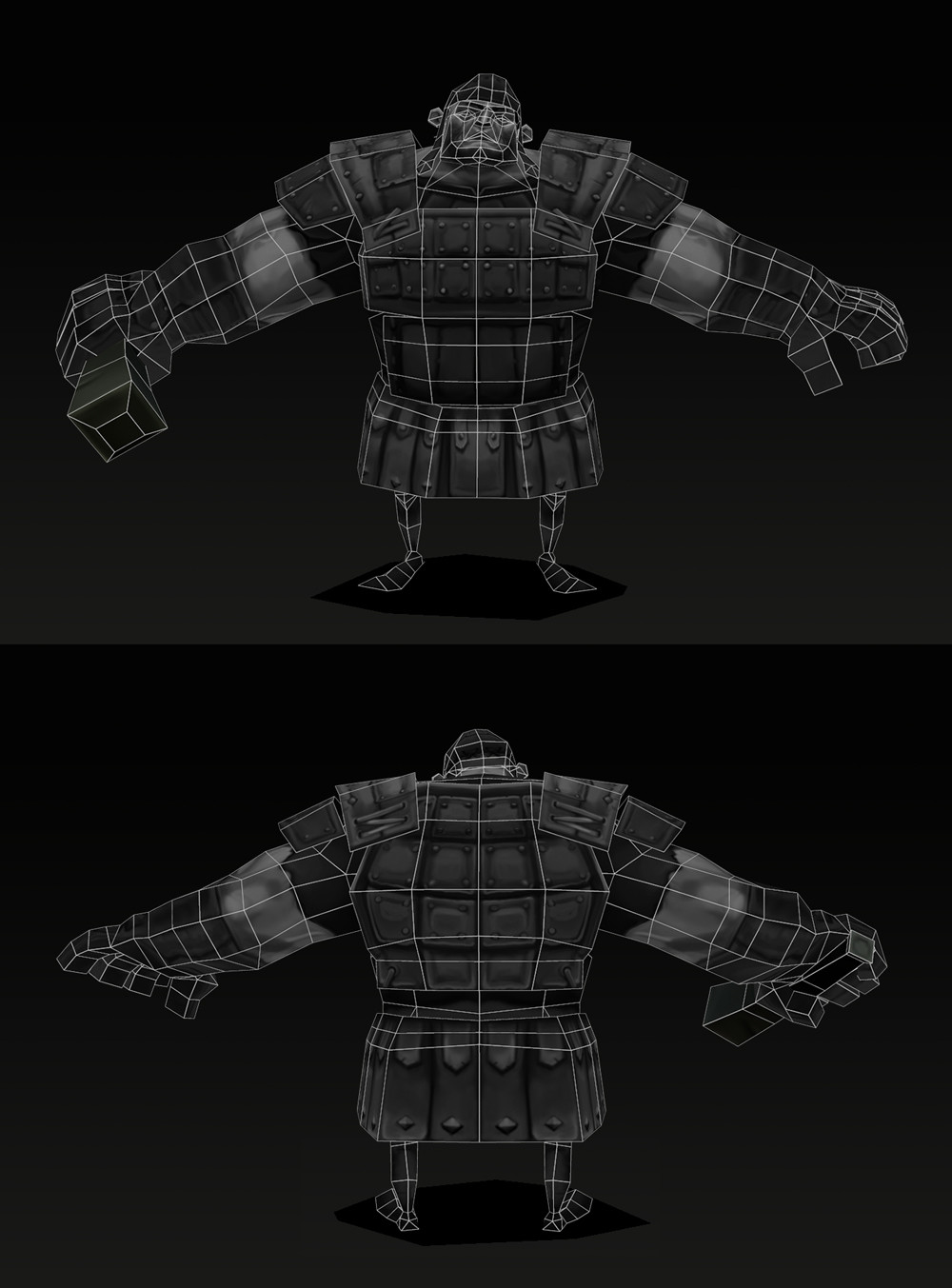 Wireframe view of the character