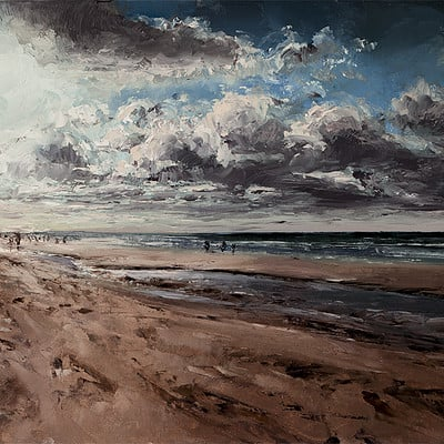 "Cloudy beach -for sale 11.8x15.7"" (30x40cm)"
