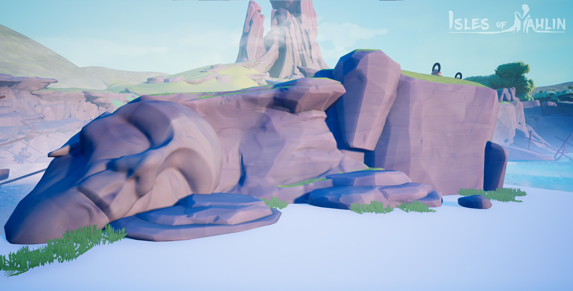 One of each rock asset combined into a simple composition