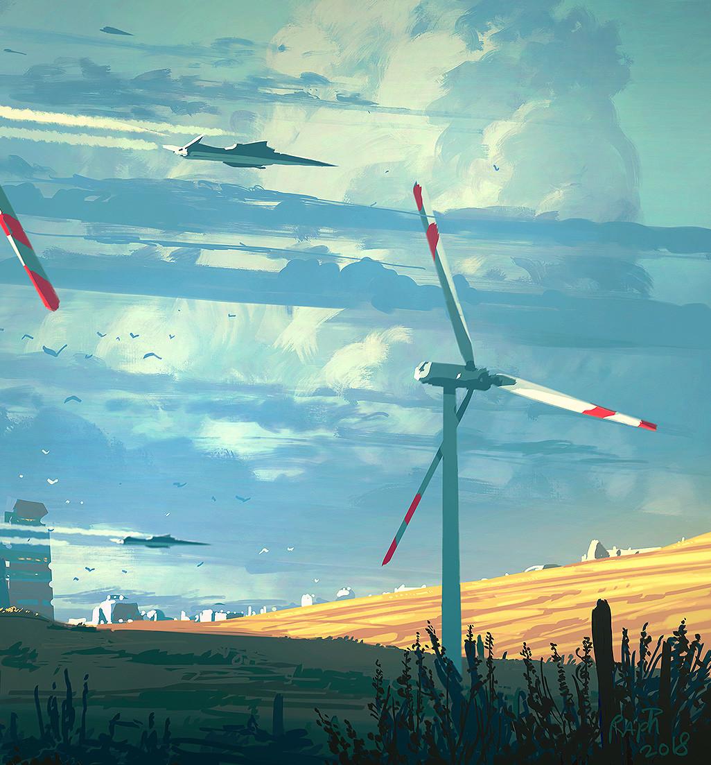 "detail ""Windmill"" procreate and ipad Pro. RLacoste2018"