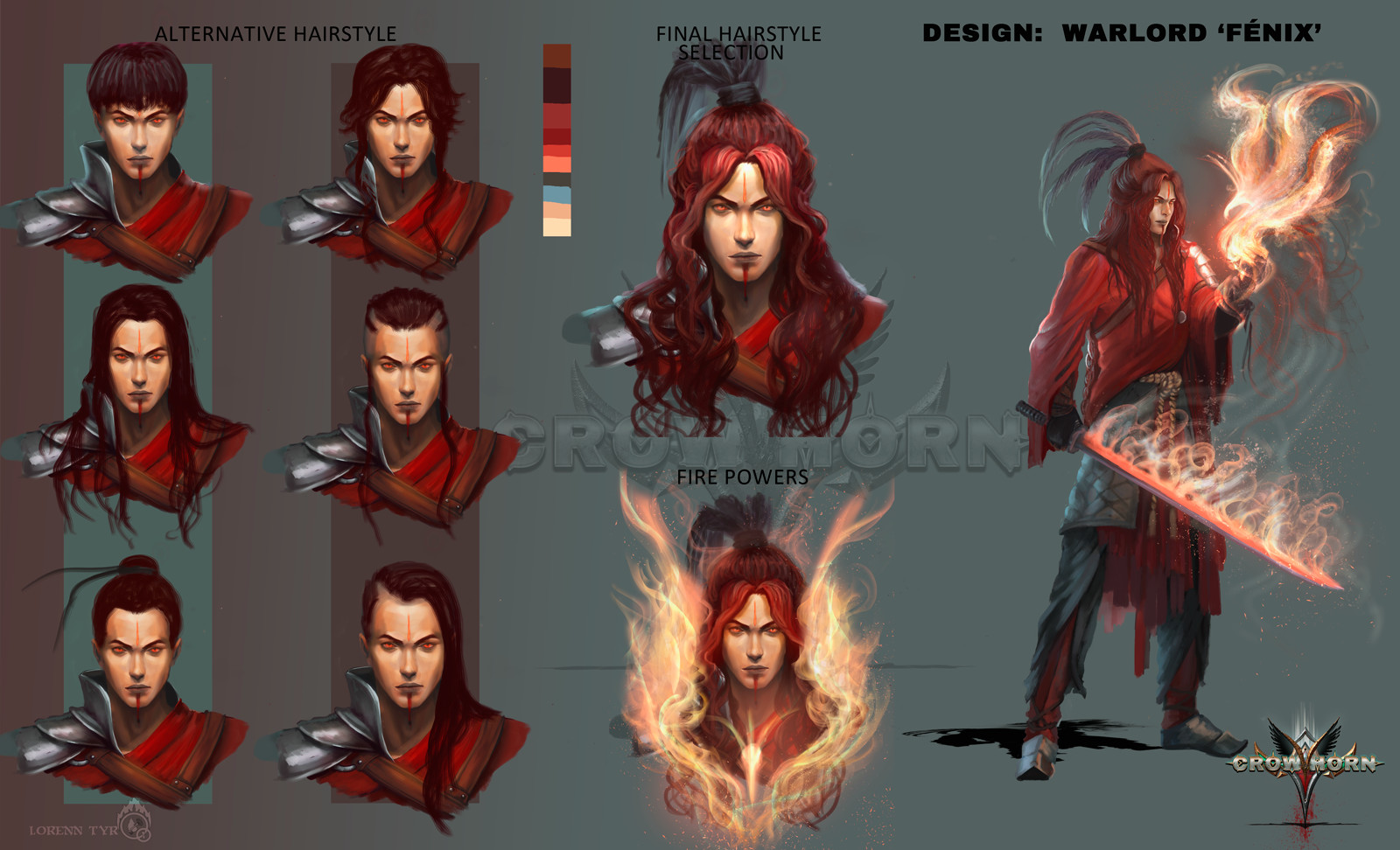 Concept hairstyles, fire powers...