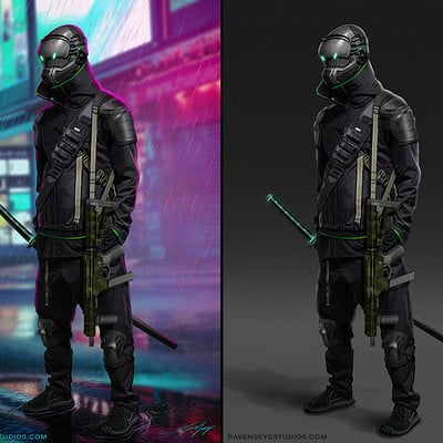 Travis lacey cyber punk concept art tech ninja small