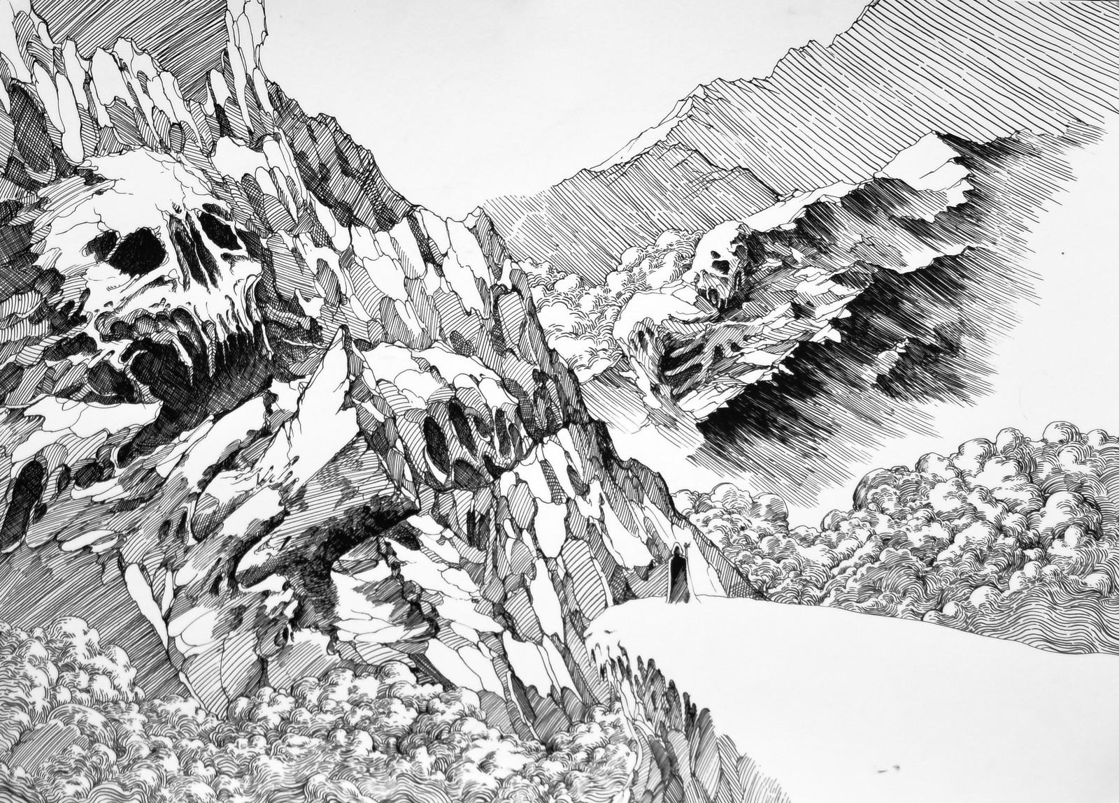 Lee Dabeen. The Elder Ones. 2018. Pen on paper, 394 x 545 mm.