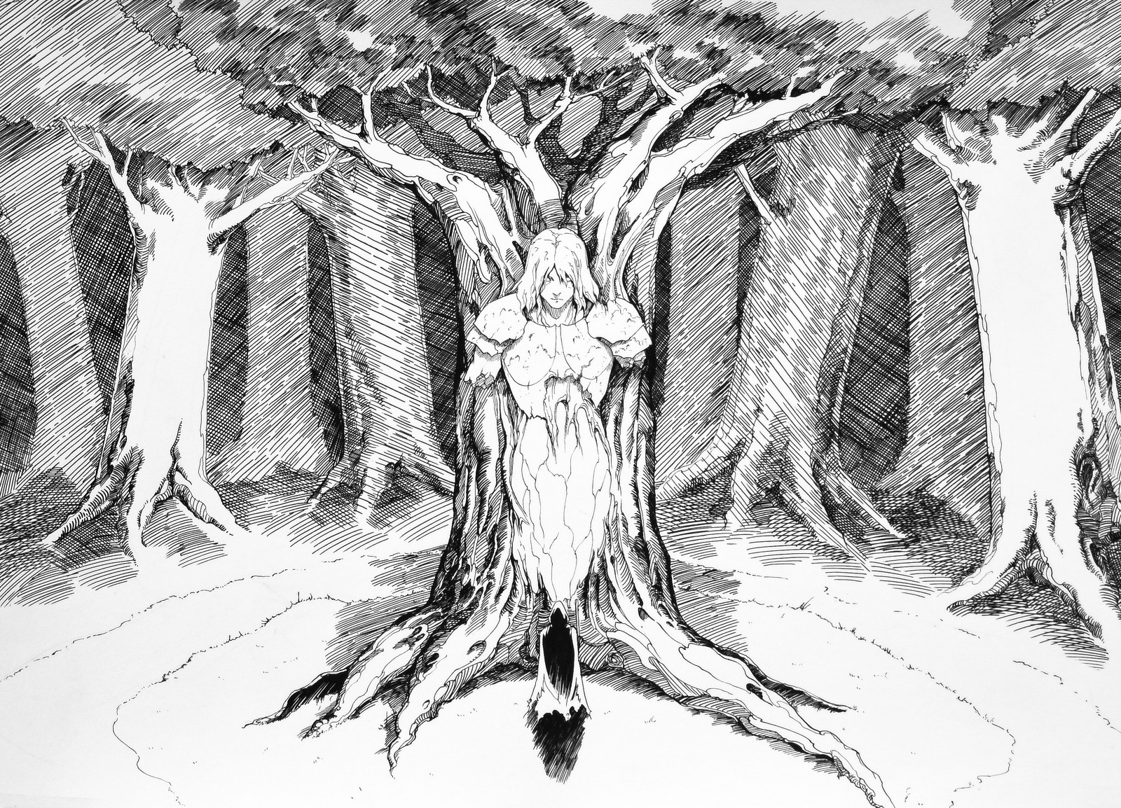 Lee Dabeen. The Tree. 2018. Pen on paper, 545 x 394 mm.