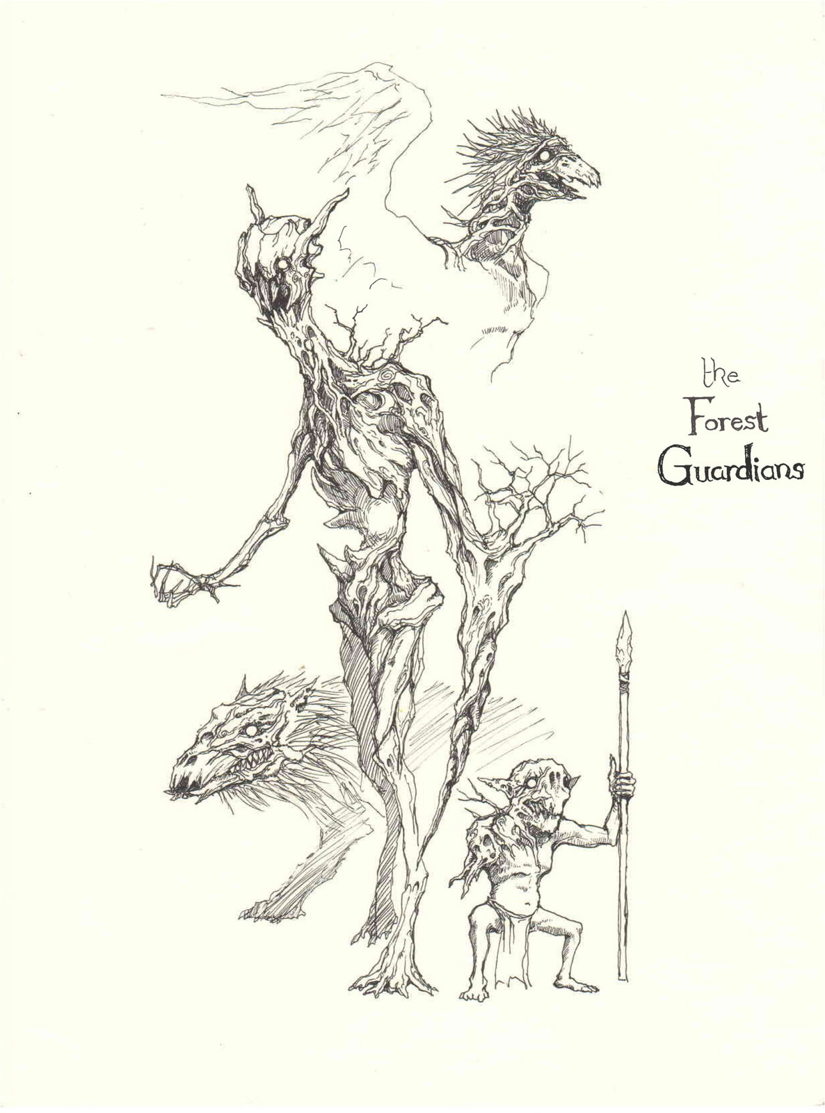Lee Dabeen. Concept Art – The Tree Guardians. 2018. Pen on paper, 282 x 210 mm.