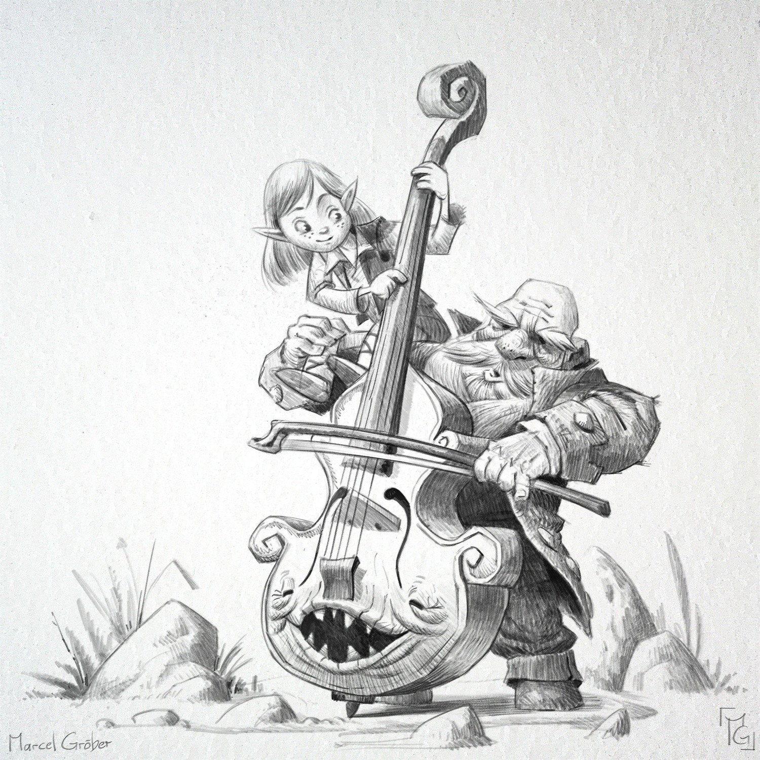 Wilbyr, the bassist and his apprentice Roland. Both playing the Mimic bass Amber.
