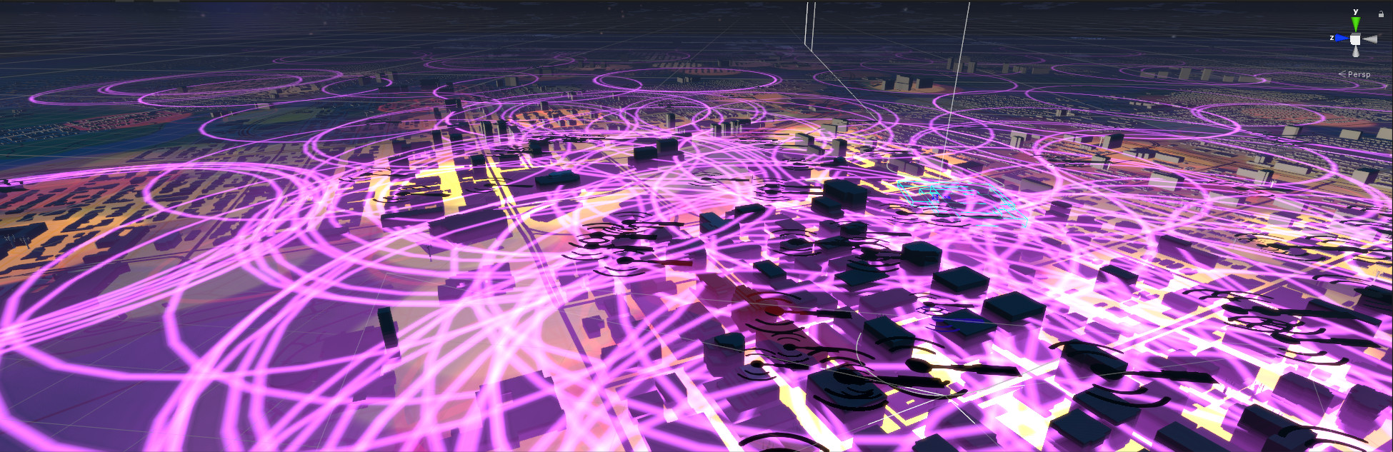 A map of every cell tower in Ottawa interacting in real time.