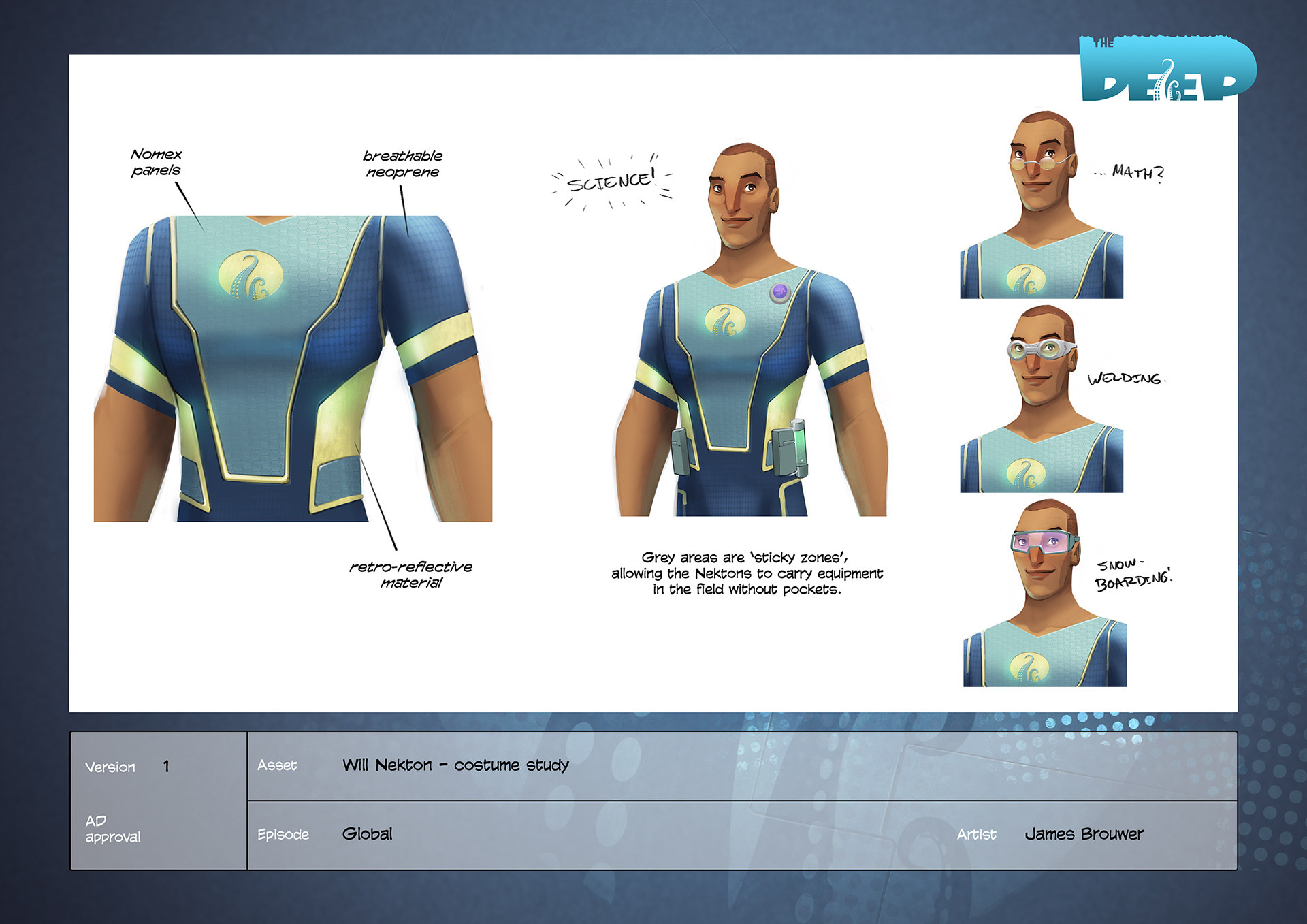 Early costume variations for Will Nekton.