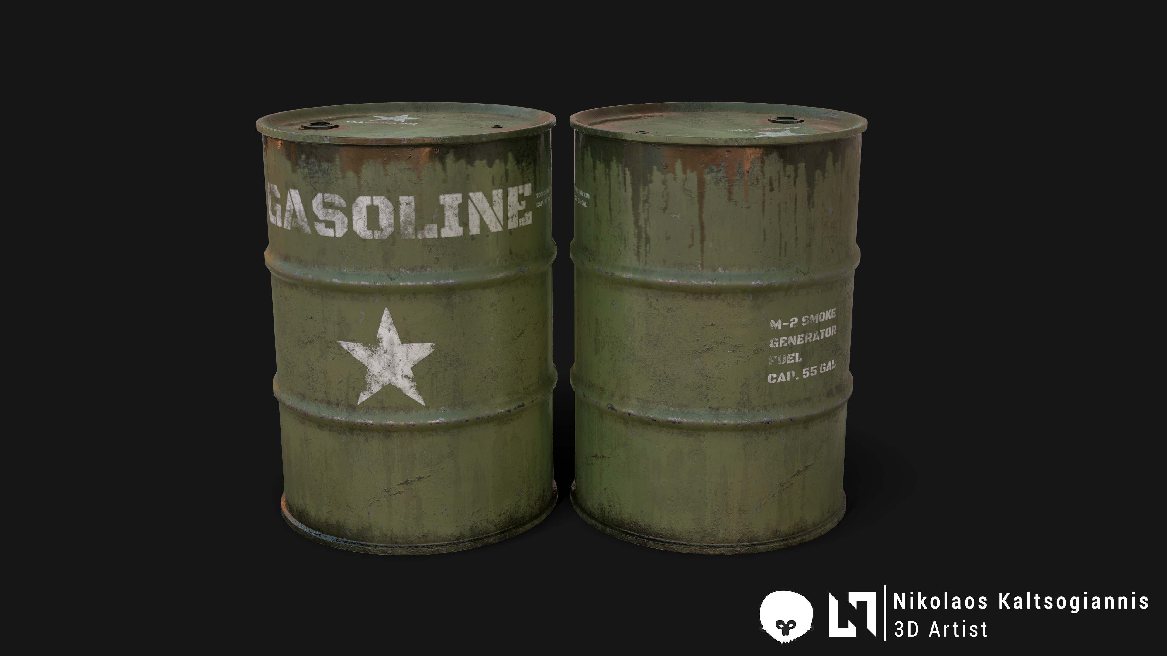 US Army Gasoline Steel Barrel.