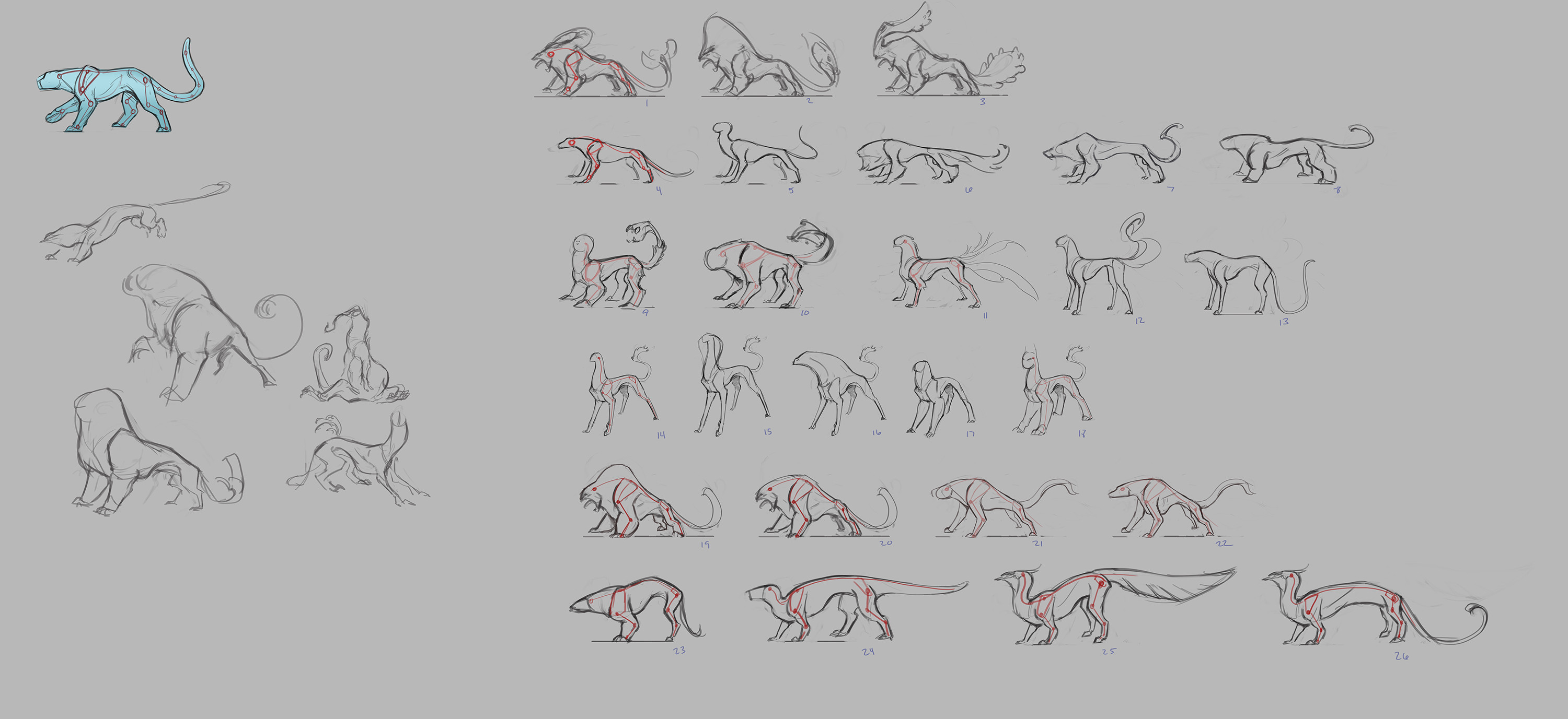 After general explorations, I had the chance to push proportions to see where different rigs would break.