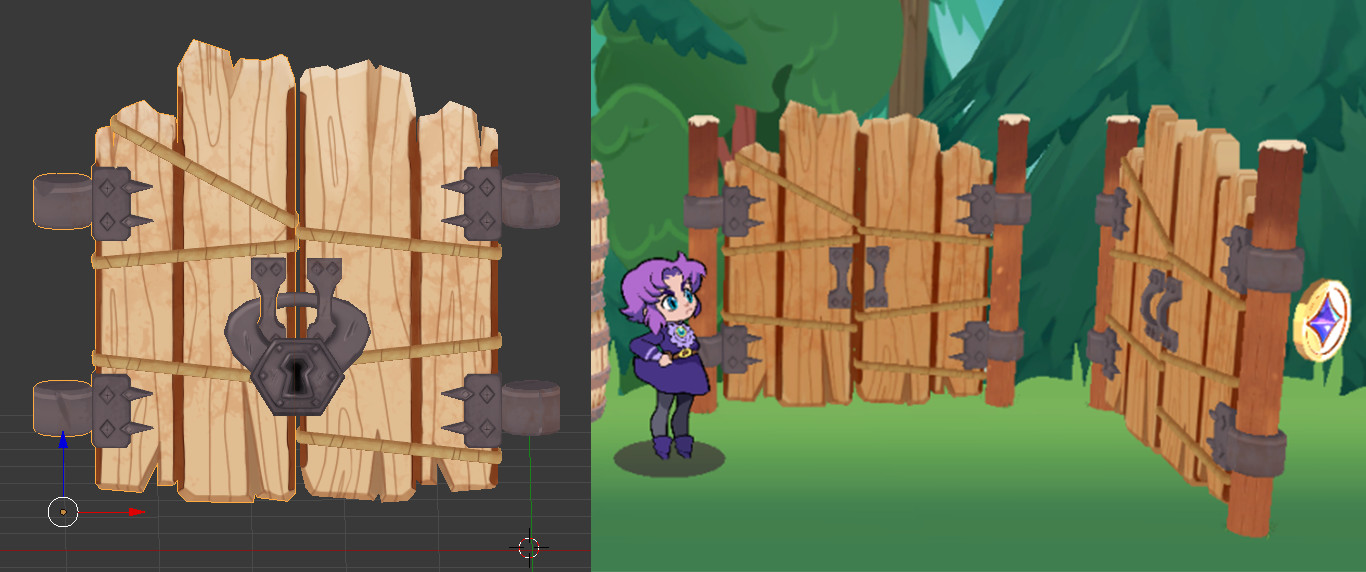 The completed gate tested in a *very* early version of Grumpy Witch (in Unity). Gate texture (and Emilia character art and trees) by lead artist Kait Peavler (https://www.artstation.com/thedicegoddess).