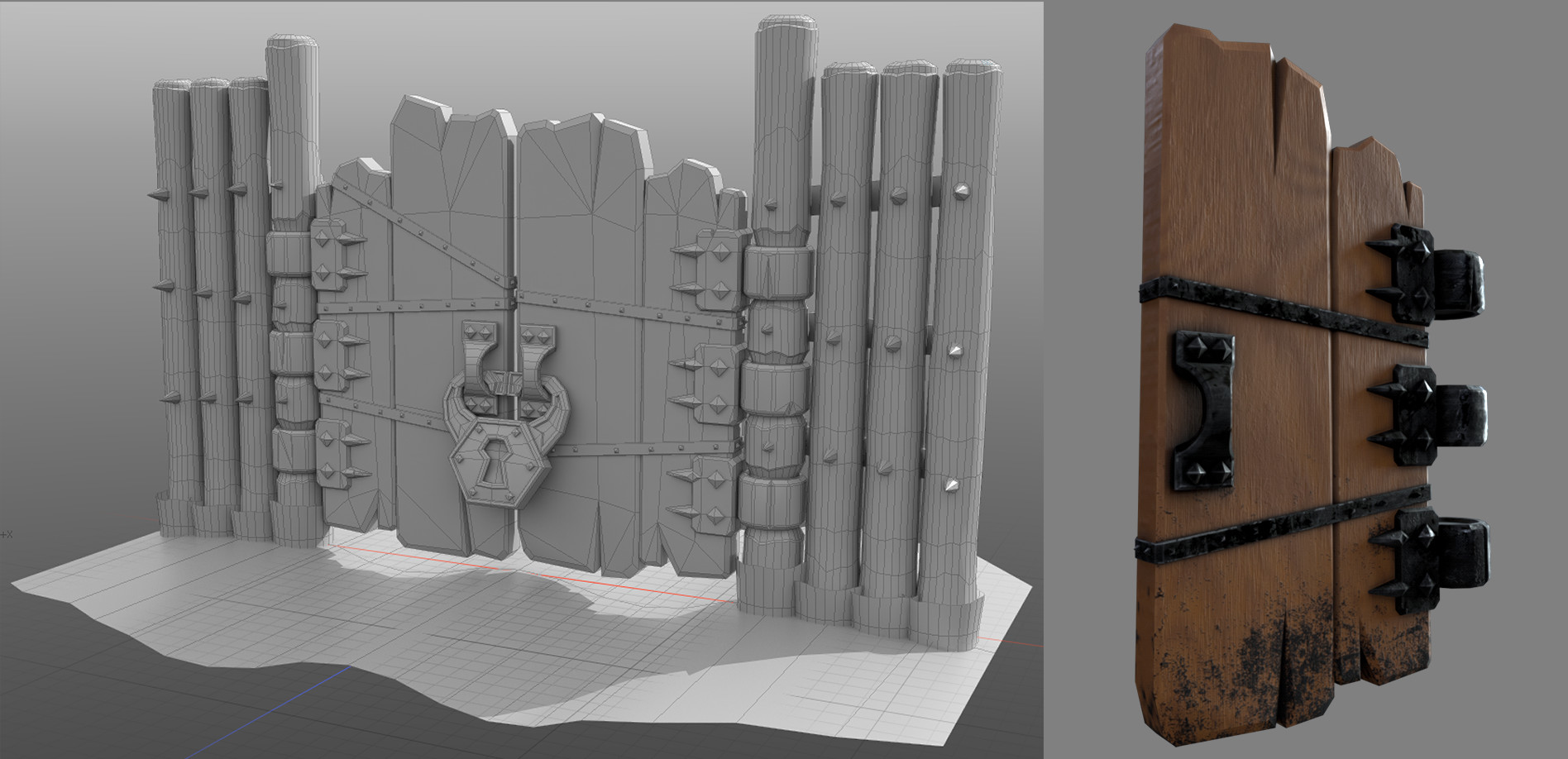 When I decided to texture this asset myself I needed to up the detail a bit. I also swapped out the ropes with metal strapping after doing some initial material tests. Modeled in Modo. Textured in Substance Designer.
