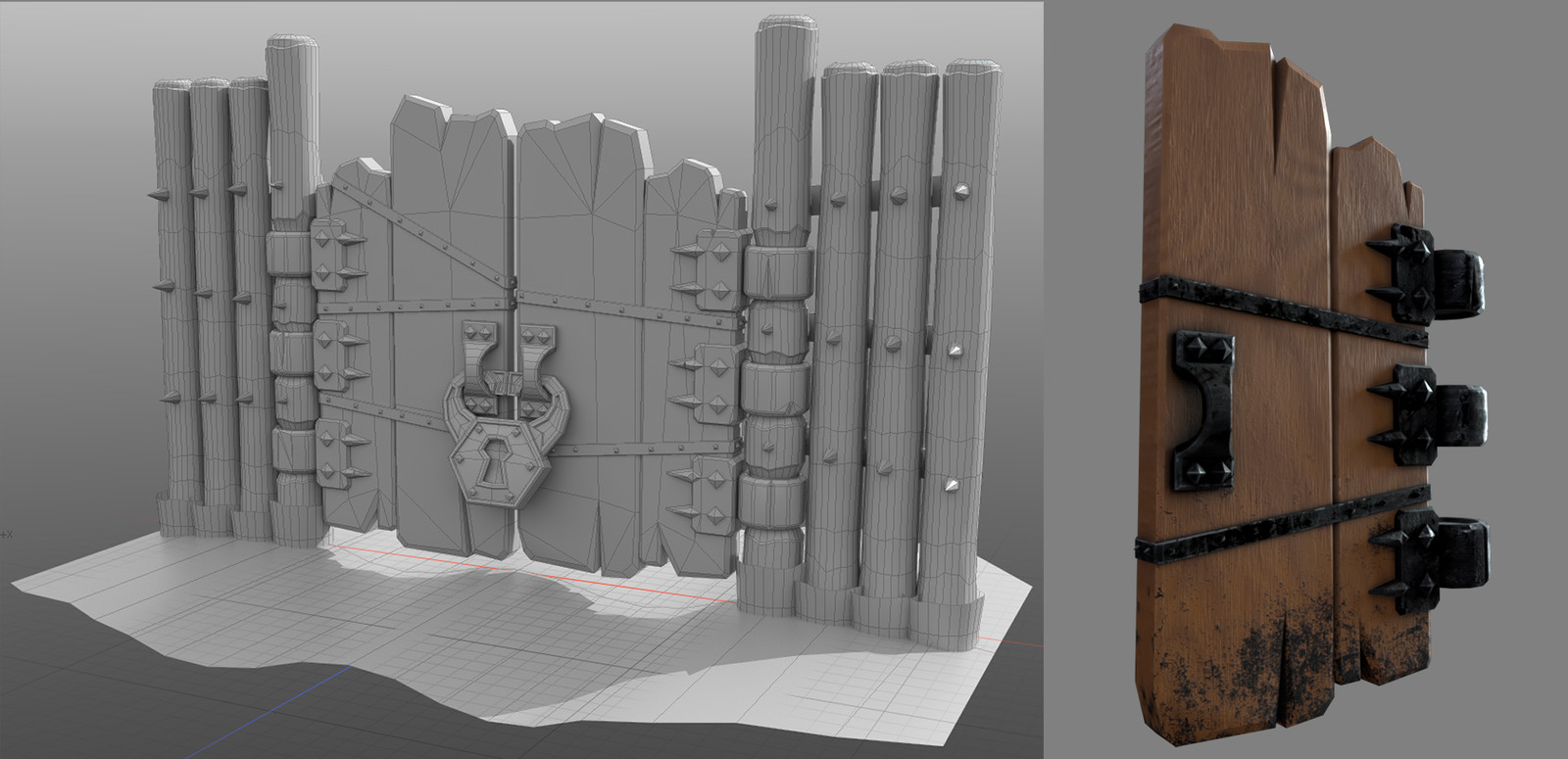 When I decided to texture this asset myself I needed to up the detail a bit. I also swapped out the ropes with metal strapping after doing some initial material tests.