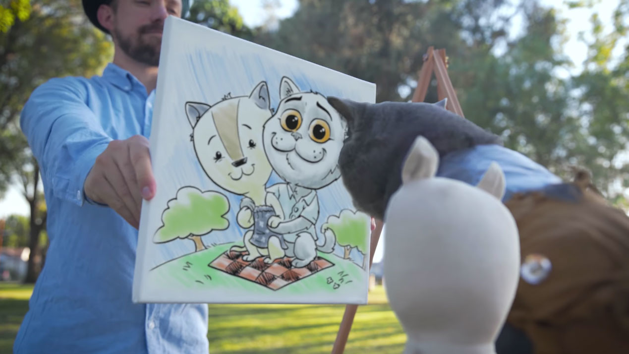 My cameo and drawing as a caricature artist in the video.