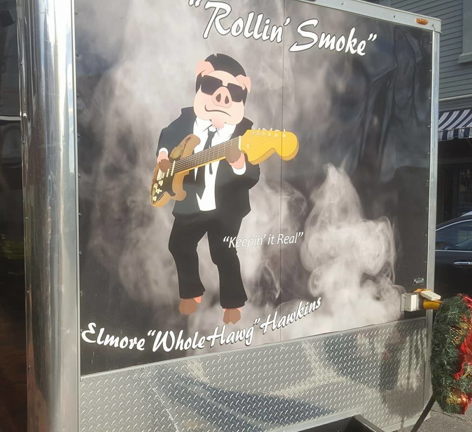 Elmore in place on the back of the truck. Customers will often take their picture in front of this and post it to social media (I did not do the smoke or text).