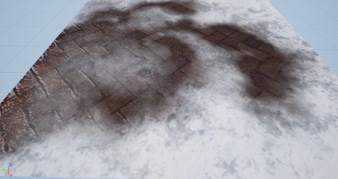 Vertex Painting Snow on Stone Path #1