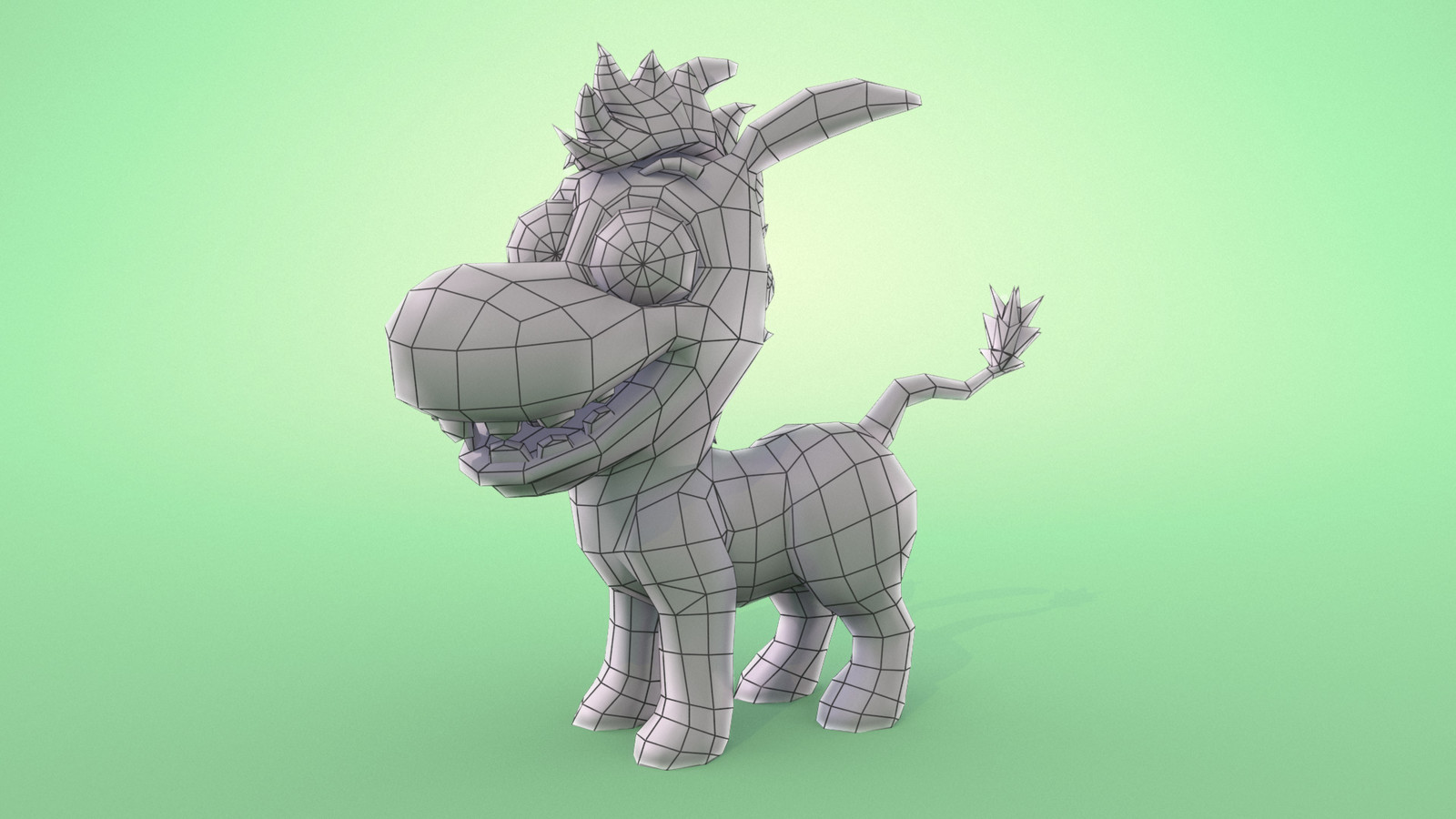 Main Character Low Poly Wireframe