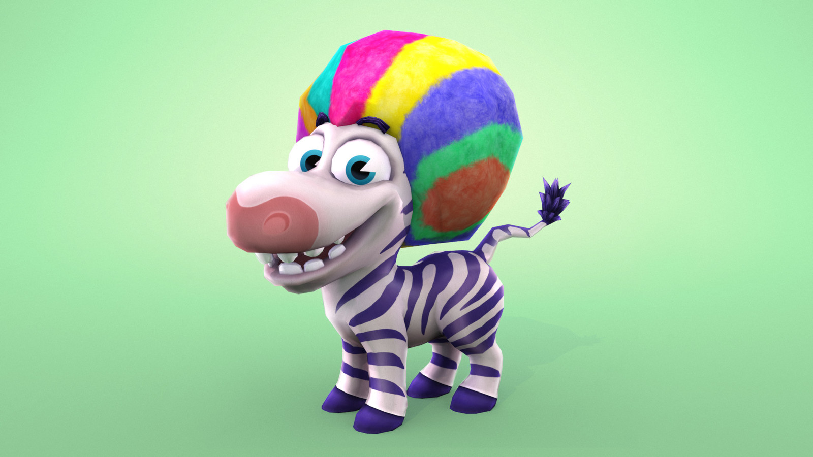 Purchasable Character Wearable. Rainbow wig.