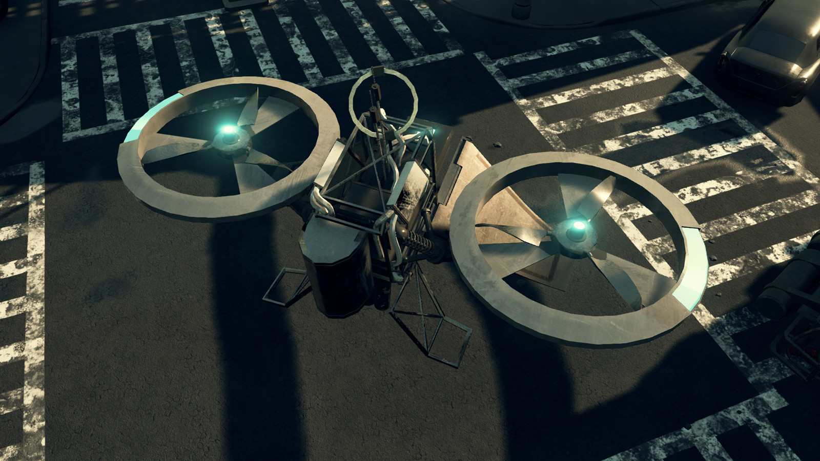 Top view of the drone in the streets of the city