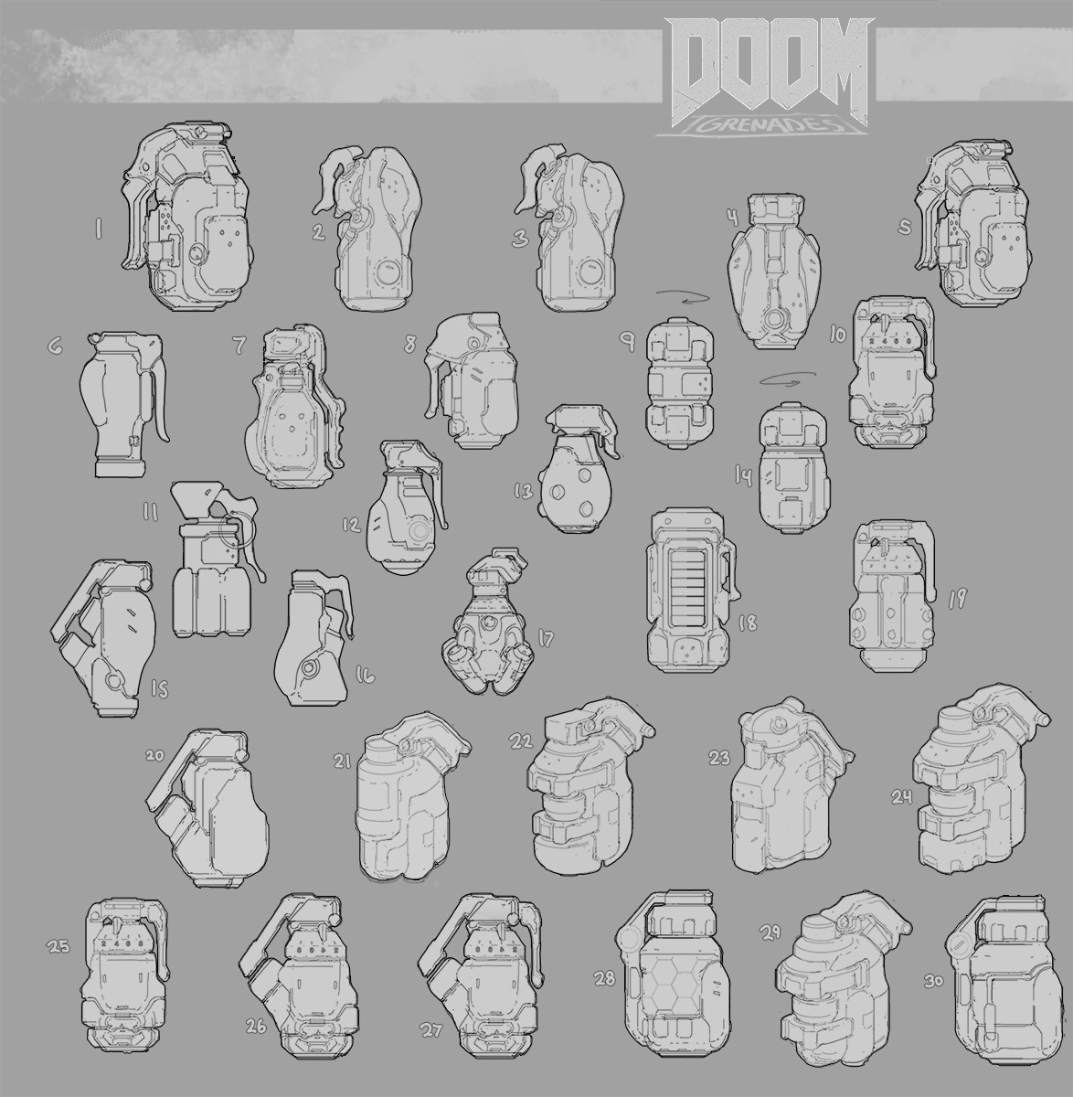Doom Grenade ideation sketches.