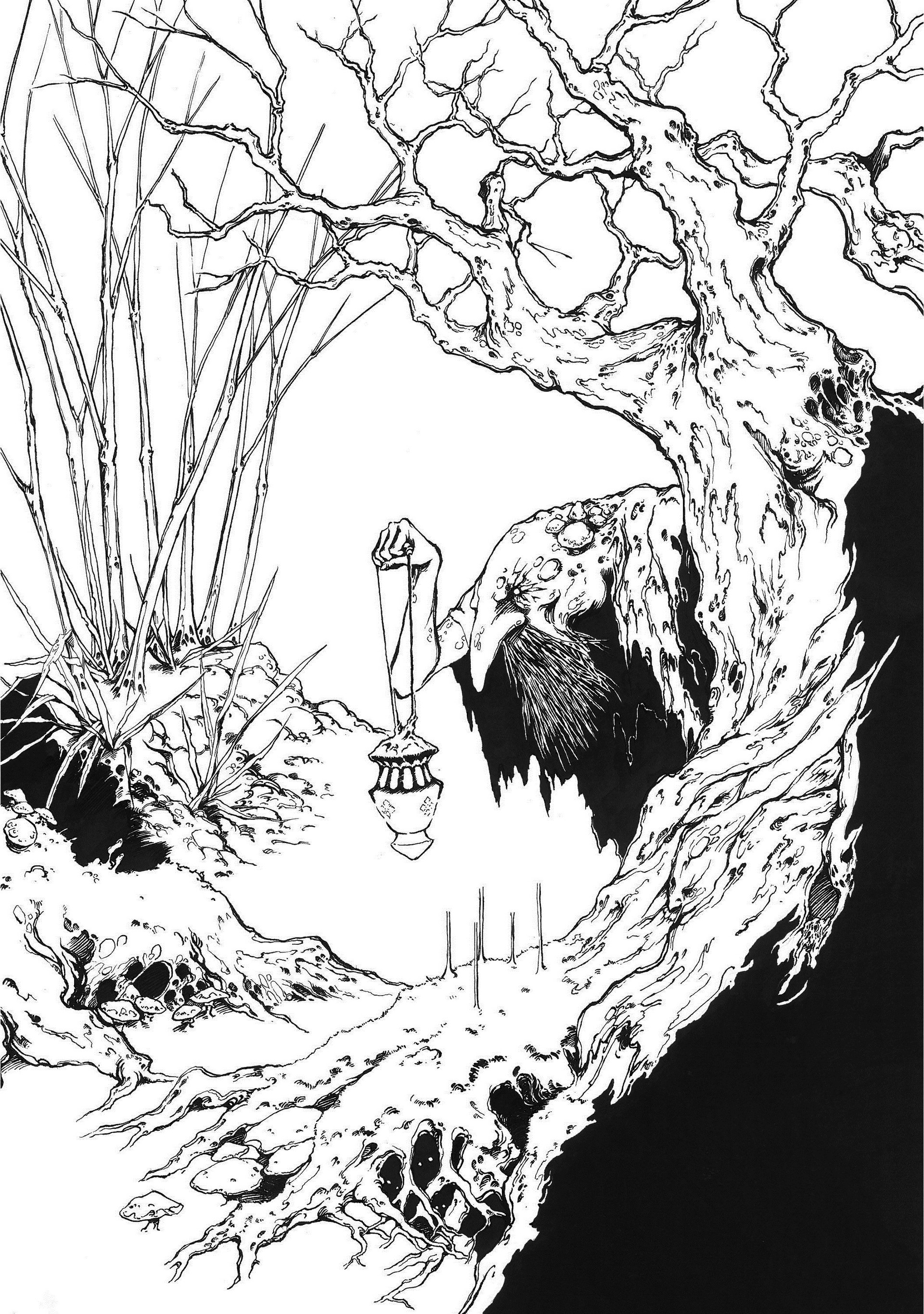 Lee Dabeen. Old Man in the Forest. 2018. Pen on paper, 393 x 272 mm.