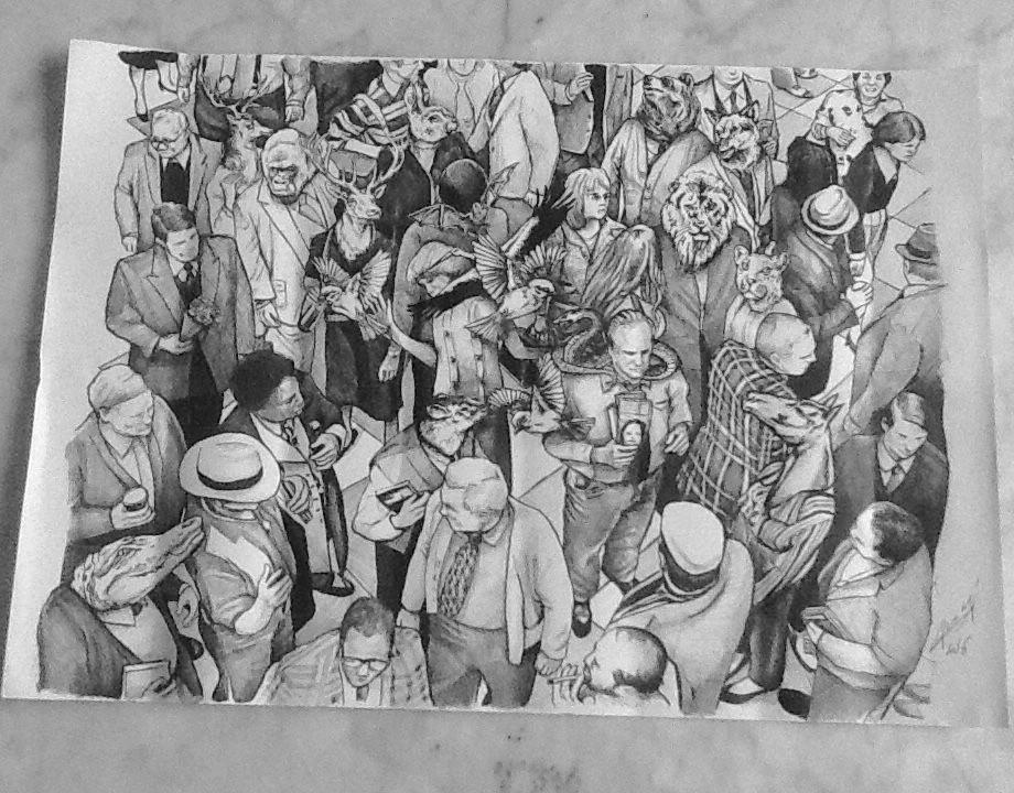 Illustration au stylo bic noir 50x70cm 2016 par Auduge dit ALACASA